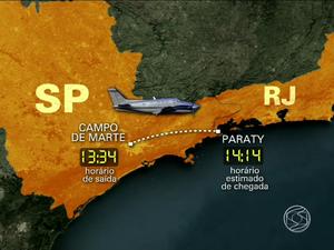 Avião saiu do Campo de Marte com destino a Paraty (Foto: Reprodução/TV Rio Sul)