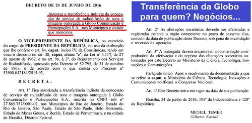 """Qual é o grande negócio da """"transferência"""" da Globo que Temer autorizou?"""