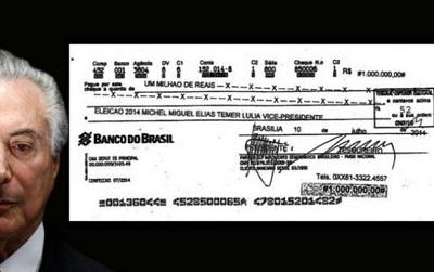 Aparece o cheque da propina da Andrade Gutierrez em nome de Temer e não do PT