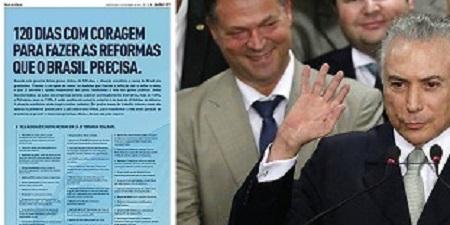 EM CAMPANHA PUBLICITÁRIA, TEMER MENTE SOBRE SEU TEMPO NO PODER