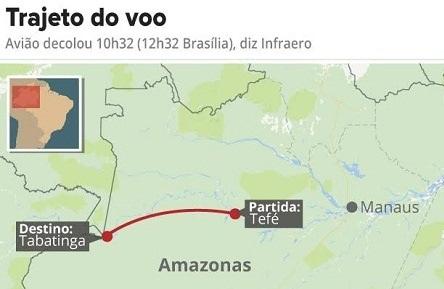 Avião que caiu no Amazonas três morrem e um sobrevive em estado grave