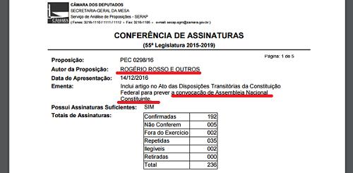 """Líder do """"centrão"""" apresenta PEC por Constituinte já."""