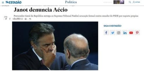 Janot denuncia Aécio por corrupção e obstrução da Justiça