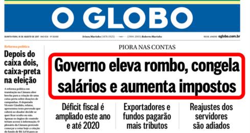 CAPA DO GLOBO RESUME O FRACASSO DO GOLPE