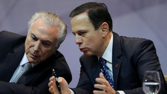 De olho em votos do PSDB, Temer chama Doria para jantar