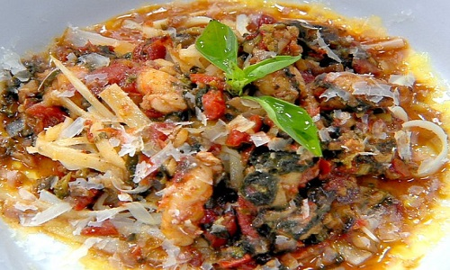 Fettuccine de palmito e lagostins