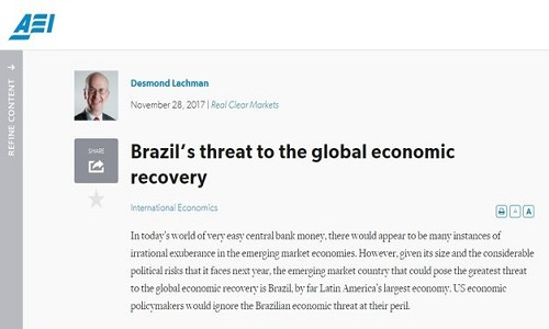 American Enterprise Institute: A ameaça do Brasil à economia global