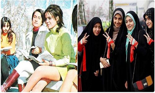 Retratos das mulheres antes e depois da revolução islâmica