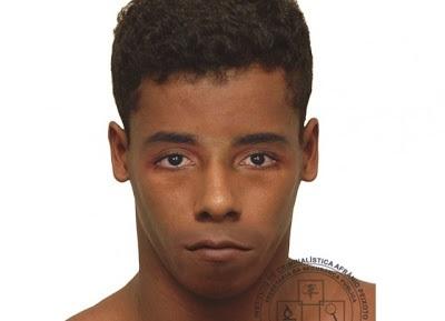 O retrato falado do suspeito de matar jovem dentro de táxi é devulgado pela policia