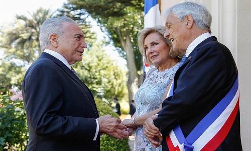 Michel Temer recebe presidente do Chile