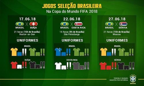 Seleção estreia com a camisa amarela contra Suiça