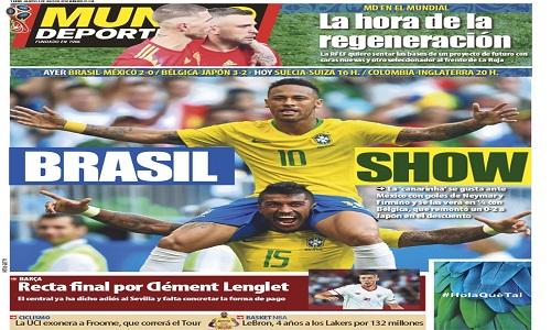 Jornais da Europa exaltam vitória da Seleção Brasileira