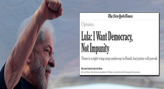 LULA NO NEW YORK TIMES: EU QUERO DEMOCRACIA, NÃO IMPUNIDADE