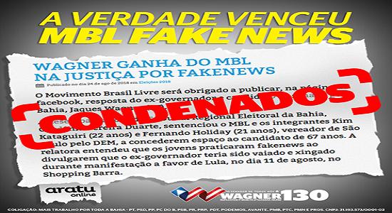 MBL é condenado por fake news contra Jaques Wagner