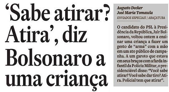 Bolsonaro não é caso para TSE ou STF. É para o Juizado de Menores