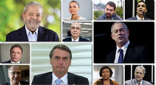 Os candidatos a presidente da República nas eleições de outubro/2018
