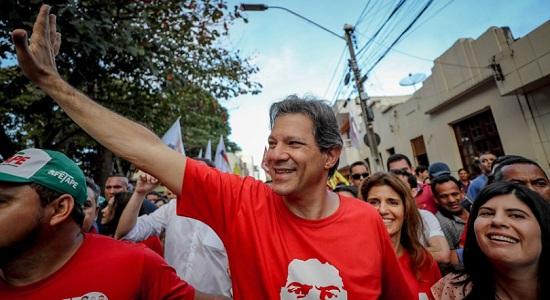 Haddad candidato de Lula venceria Bolsonaro no 2º turno com 41% dos votos de Alckmin