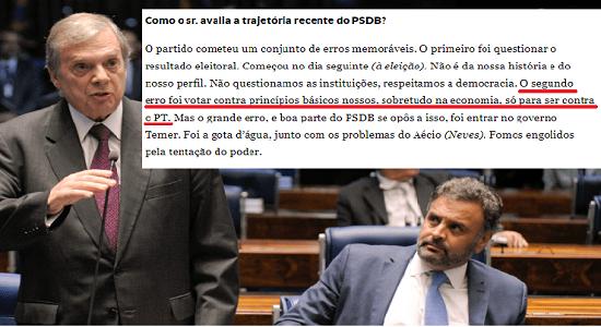EX-PRESIDENTE DO PSDB, JEREISSATI CONFIRMA BOICOTE ECONÔMICO AO GOVERNO DILMA