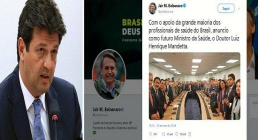 BOLSONARO ESCOLHE MAIS UM DO DEM: MANDETTA, INVESTIGADO, PARA A SAÚDE