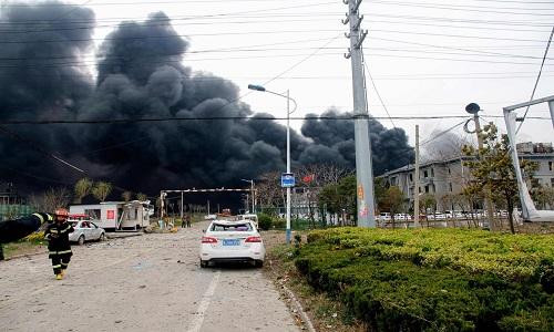 Explosão em fábrica de produtos químicos na China.