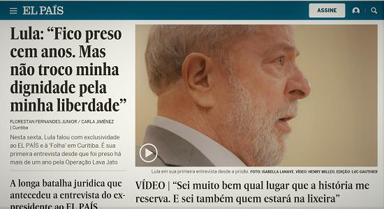 Primeira entrevista de Lula desde que foi preso