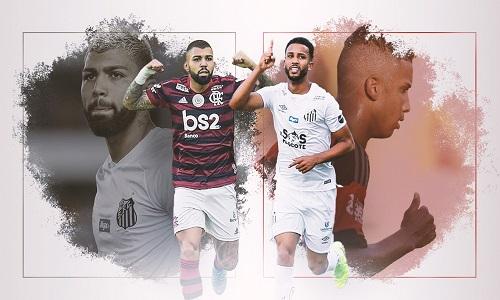 Jorge e Gabigol invertem papéis no duelo entre Flamengo e Santos.