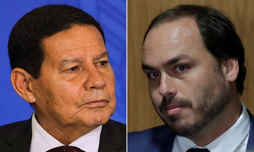 Mourão e Congresso rebatem Carlos Bolsonaro
