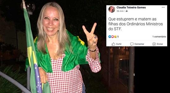 """Advogada bolsonarista publica: """"Que estuprem e matem as filhas dos ordinários ministros do STF"""""""