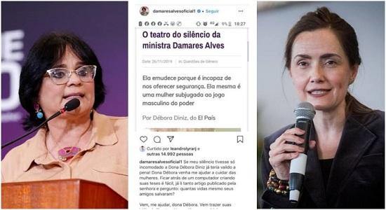 Damares Alves ataca professora ameaçada de morte e toma invertida