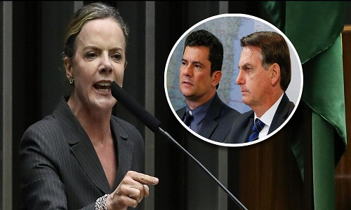Gleisi aperta Moro e pergunta o que ele acha do megaesquema de corrupção do clã Bolsonaro