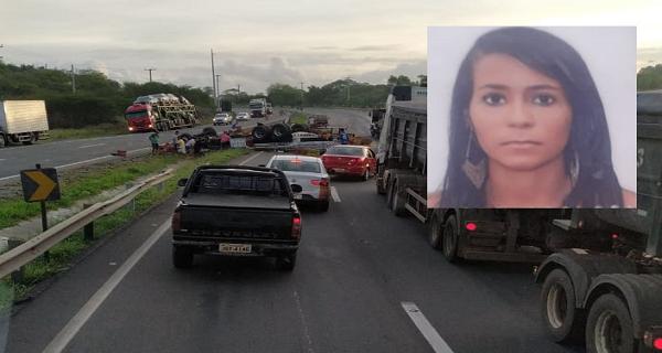 Caminhão capota na BR-116, em Feira de Santana e mata jovem de 26 anos