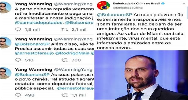 Embaixada da China diz que Eduardo Bolsonaro contraiu vírus mental